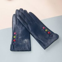 Blue Soft Lined Leather Gloves