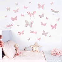 Butterfly Wall Stickers In Dusty Pink And Grey