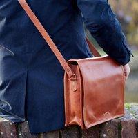 Personalised Brown Leather Messenger Bag