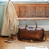 Personalised Brown Nuhide Weekend Holdall With Strap
