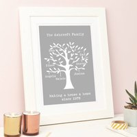 Personalised Family Tree Framed Print, Green/Grey/Black