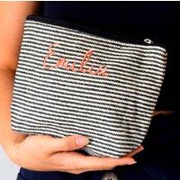 Embroidered Stripe Make Up Bag