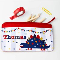 Boys Personalised Dinosaur Pencil Case, Red/Royal Blue/Blue