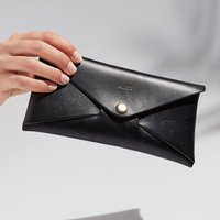 Personalised Black Leopard Print Leather Envelope Purse
