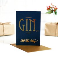 Navy Gold Gin Gle All The Way Gin Christmas Card