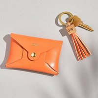 Personalised Orange Coin Purse + Tassel Keyring Set