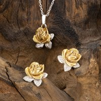 Rose Necklace And Studs Set In 18 Ct Gold On Silver, Silver