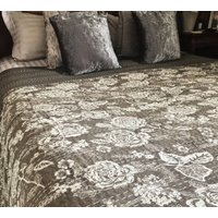 Kantha Quilted Bedspread, Grey And Cream, Vintage Rose