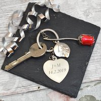 Personalised Heart Shaped Key Ring For Valentines Day