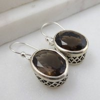 Smoky Quartz Earrings In Sterling Silver, Silver
