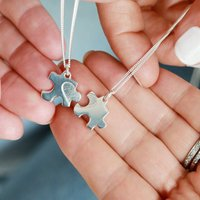 Mother And Daughter Interlinking Heart Silver Necklaces, Silver