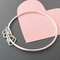 40th Birthday Silver Heart Bangle, Silver