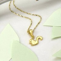 Gold Plated Sterling Silver Squirrel Necklace, Silver