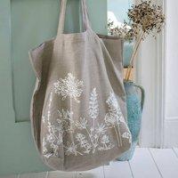 Garden Flowers Linen Slouch Bag