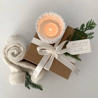 Ceramic Tea Light Holder With Alpaca Socks Gift Set