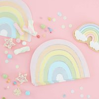 Pastel And Iridescent Foiled Rainbow Paper Party Napkin