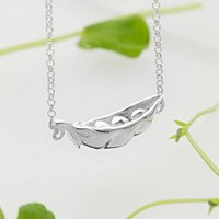 Silver Peas In A Pod Necklace With Personalised Message, Silver