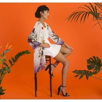 Silk Kimono Jacket Evolution Print Size S/M