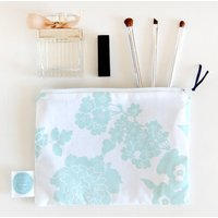 Floral Travel Cosmetic Bag, Duck Egg