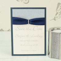 Luxury Sparkle Save The Date, Silver/Champagne/Blue