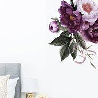 Plum Peonies Floral Corner Wall Sticker