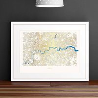 Metallic London Street Map Print