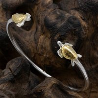 Turtle Bangle In Sterling Silver 18 Carat Gold, Silver