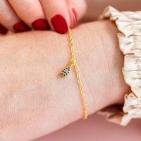 Dainty Multi Coloured Gold Teardrop Charm Bracelet, Gold