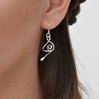 Sterling Silver 3D Spiral Earrings, Silver