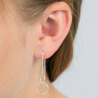 Entwined Circles Silver Threader Earrings, Silver