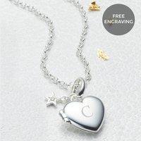 Personalised Petite Silver Diamond Heart Girls Locket, Silver