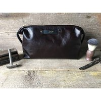 Personalised Toiletry Bag In Glossy Brown Leather