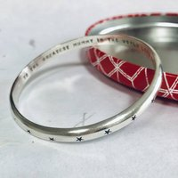Personalised Hearts Or Stars Heavy Silver Bangle, Silver