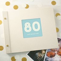 Personalised Typographic 80th Birthday Photo Album, Black/Turquoise/Cornflower Blue
