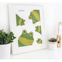 Frog Family Selfie, Personalised Print