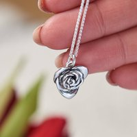 Heart Shaped Rose Silver Necklace, Silver