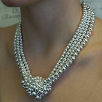 Sterling Silver Knotted Statement Necklace, Silver