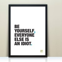 Funny Inspirational 'Be Yourself' Quote Print, Aqua/Orange