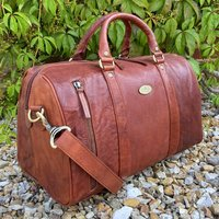 Cognac Leather Travel Bag, Holdall, Gym Bag