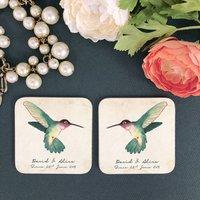 Personalised Hummingbirds Couple Coaster Set