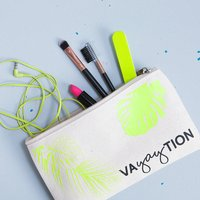Personalised Vacation Canvas Makeup Bag, Yellow/Pink/Neon Green
