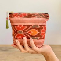 Peach Ikat Vintage Sari Makeup Bag