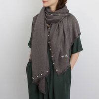 Personalised Cashmere And Pearl Shawl, Charcoal/Pink/Burgundy