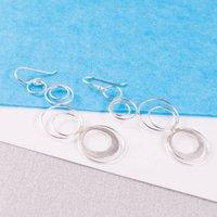 Silver Spiro Drop Earrings, Silver