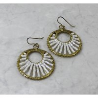 Gold Wire Wrapped Bead Disc Earrings, Gold