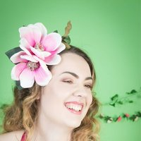 Pink Magnolia Floral Crown Fascinator