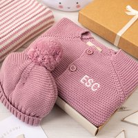 Luxury Dawn Pink Bobble Hat And Cardigan Baby Gift Box