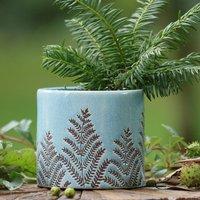Leaf Patterned Blue Ceramic Plant Pot