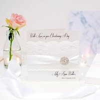 Lace And Crystal Luxury Christening Card Personalised, Silver/White/Gold