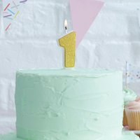 Gold Glitter Number One Birthday Cake Candle